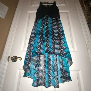 Charlotte Russe high-low teal and black dress